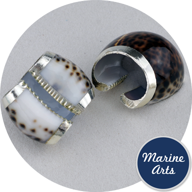 8268-P18 - Silver Edge Napkin Ring - Tiger Cowrie (2 Pack)