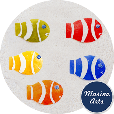 8551A - Capiz Assorted Clown Fish - 65mm - Single Drilled Hole