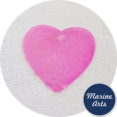 8555P - Capiz Pink Hearts - 60mm - Single Drilled Hole