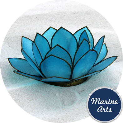8570 - Capiz Lotus Flower - Light Blue 100mm