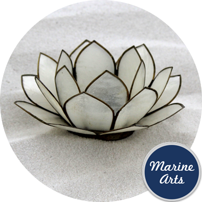 8569 - Capiz Lotus Flower - Natural White 100mm